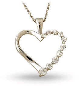 Ten Stone 1/4 Carat Diamond Journey Heart Pendant, 14K White Gold
