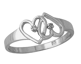 Dual Heart Diamond Ring, 10K White Gold