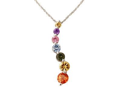 Buy Sapphire Journey Pendant, 14K White Gold