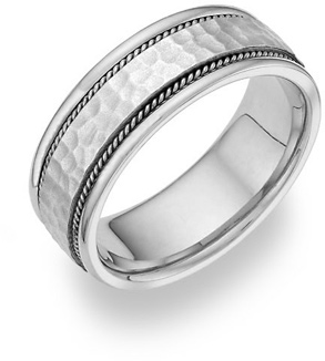 Brushed Hammered Wedding Band in 14K White Gold