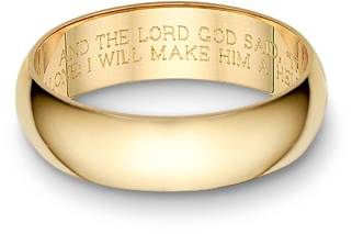 Bible Verse Wedding Band Ring, Yellow Gold