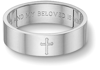 Sterling Silver Song of Solomon Cross Wedding Band Ring thumbnail