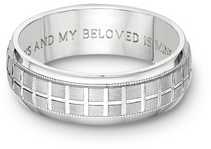 Tuscan Cross Bible Verse Wedding Band Ring