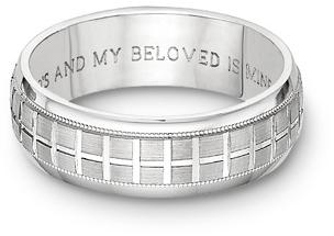 Tuscan Cross Bible Verse Wedding Band Ring