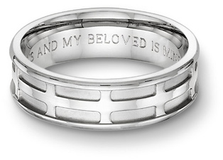 parisian cross engraved wedding band with a bible verse i am my beloveds