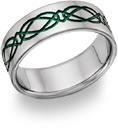 Titanium Irish Green Celtic Wedding Band
