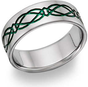 Titanium Irish Green Celtic Wedding Band
