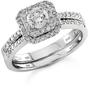 1940s Jewelry Styles and History 34 Carat Art Deco Diamond Wedding Ring Set $1,525.00 AT vintagedancer.com