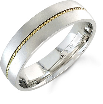Platinum and 18K Gold Brushed Milgrain Wedding Band