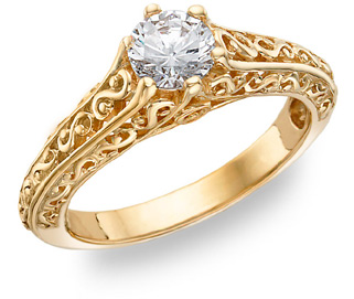 Paisley Design 1/2 Carat Diamond Ring, 14K Gold