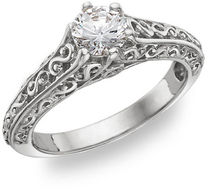 Paisley Design 1/2 Carat Diamond Ring, 14K White Gold