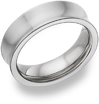 Concave Titanium Wedding Band Ring