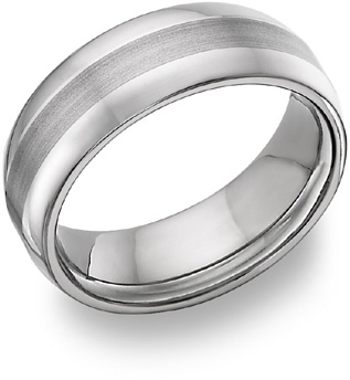 Brushed Titanium Wedding Band Ring