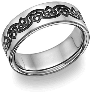 Black Titanium Celtic Heart Love Knot Wedding Band
