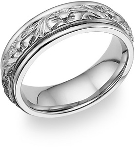 18K White Gold Floral Design Wedding Band Ring