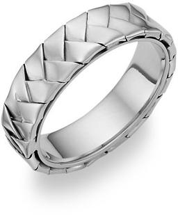 Braided Wedding Band - 14K White Gold