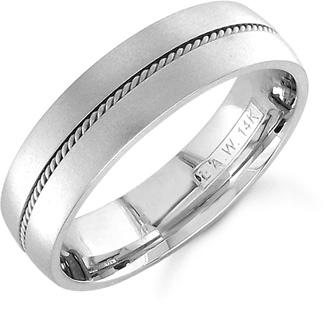 14K White Gold Brushed Wedding Band