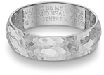 Hammered Wedding Vow Ring, 14K White Gold