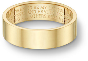 Wedding Vow Ring, Flat Band, 14K Gold