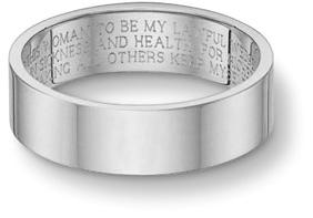 Wedding Vow Ring, Flat Band, 14K White Gold