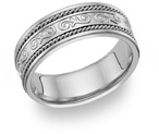 Paisley Wedding Band Ring, 14K White Gold