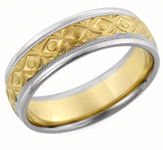 XOXO Design Wedding Band, 14K Two-Tone Gold