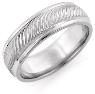 Etched Weave Wedding Band in 14K White Gold (Wedding Rings, Apples of Gold)