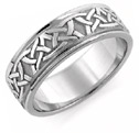 Aidan Celtic Wedding Band Ring, 14K White Gold
