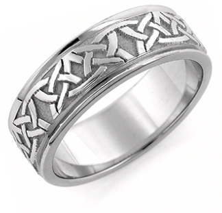Aidan 18k White Gold Celtic Wedding Band