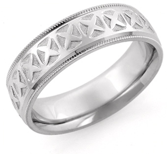 XOXO Design Wedding Band, 14K White Gold