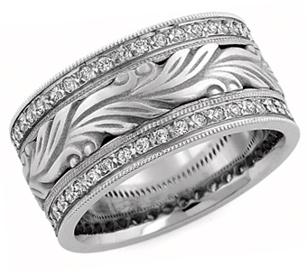 Hand Carved Paisley Diamond Wedding Band, 14K White Gold