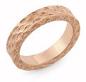 14K Rose Gold Hand Carved Design Wedding Ring