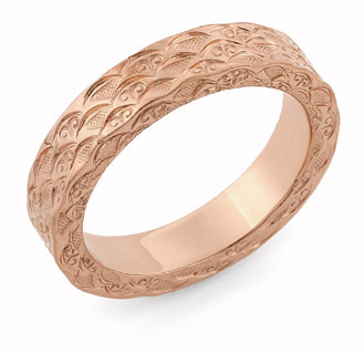 14K Rose Gold Hand Carved Design Wedding Band