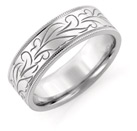 Engraved Floral Wedding Band, 14K White Gold