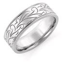 Engraved Floral Wedding Band, 14K White Gold