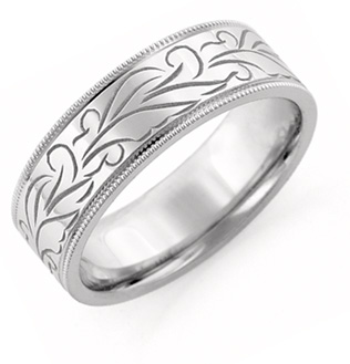 18K White Gold Hand Carved Floral Wedding Band Ring