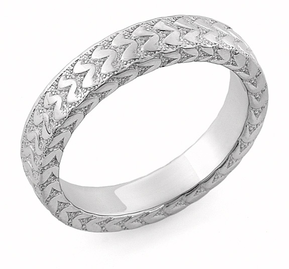 Hand Carved Designer Wedding Band, 14K White Gold