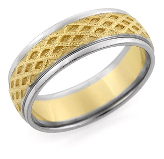 14K Two-Tone Gold Textured Wedding Band Ring