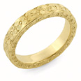 Hand Carved Floral Wedding Band Ring, 14K Gold