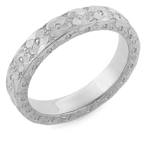Hand Carved Floral Wedding Band, 14K White Gold
