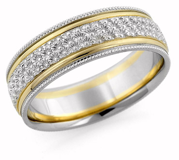 Hand Carved Floral Wedding Band 14K Two Tone Gold
