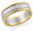 Square Hammered Wedding Band, 14K Two-Tone Gold