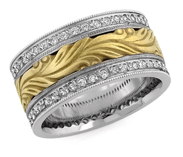 Hand Carved Paisley Diamond Wedding Band, 14K Two-Tone Gold