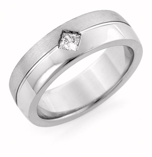 Princess Cut Diamond Wedding Band, 14K White Gold