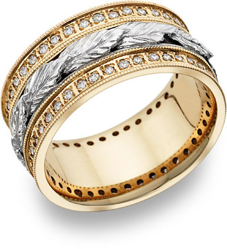 Buy Carved Leaf Diamond Wedding Band in 14K Two-Tone Gold