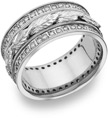 Floral Leaf Diamond Wedding Band, 14K White Gold