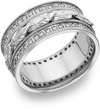 Buy Carved Leaf Diamond Wedding Band in 14K White Gold