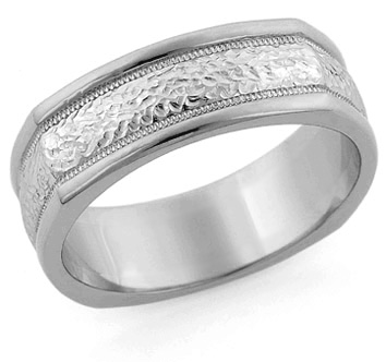Hammered Square Wedding Band, 14K White Gold