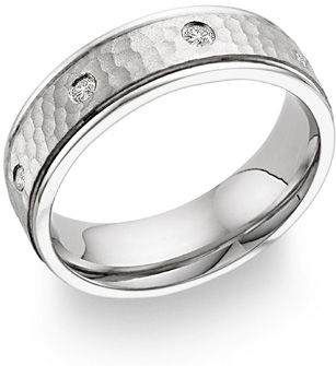 Diamond Hammered Wedding Band in 18K White Gold