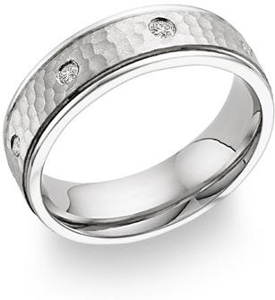 Diamond Hammered Wedding Band, 14K White Gold